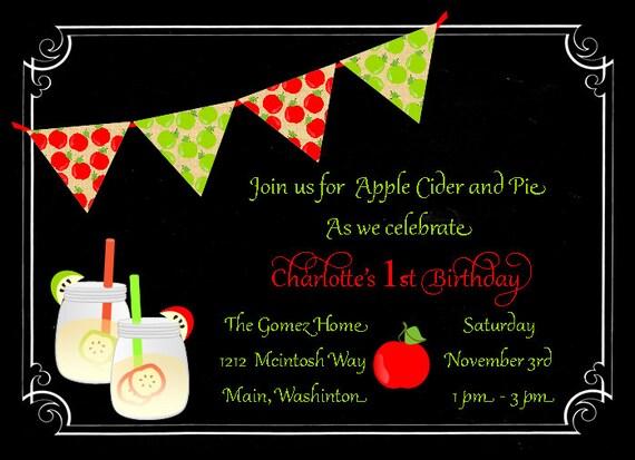 Apple Birthday Invitation Chalkboard Mason Jar Fall Apples Picking Party
