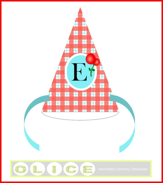 red gingham party hat plaid birthday party hat template etsy