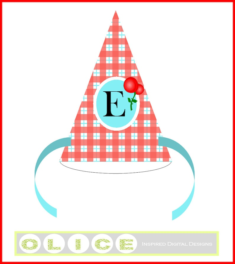 Red Gingham Party Hat Plaid Birthday Template