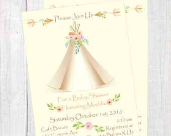 Tribal Baby Shower invitation, Boho Aztec baby, Teepee invitation, Boho chic baby shower invitation, Boho Tribal Bridal Shower Invitation