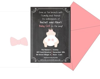 Chalkboard baby shower invitation, coral and black invitation, girl Baby Shower Invitation, pink girl Baby Shower Invitation, Baby Shower,