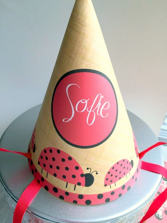 Lady Bug Birthday Party Hat Template Polka Dots Red And Black