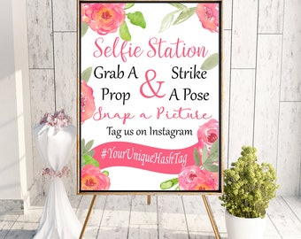 Photo Booth Sign Printable pink Photo prop, Instagram photo prop  Grab a Prop and Strike a Pose! Sign, you pick size then download and print