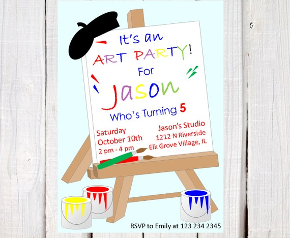 art party invitation painting birthday party art paint party