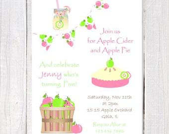 Apple birthday invitation, Apple pie invitation, Apple  of my eye, Apple CIder party invitation, Turning five invitation, Pink and Green