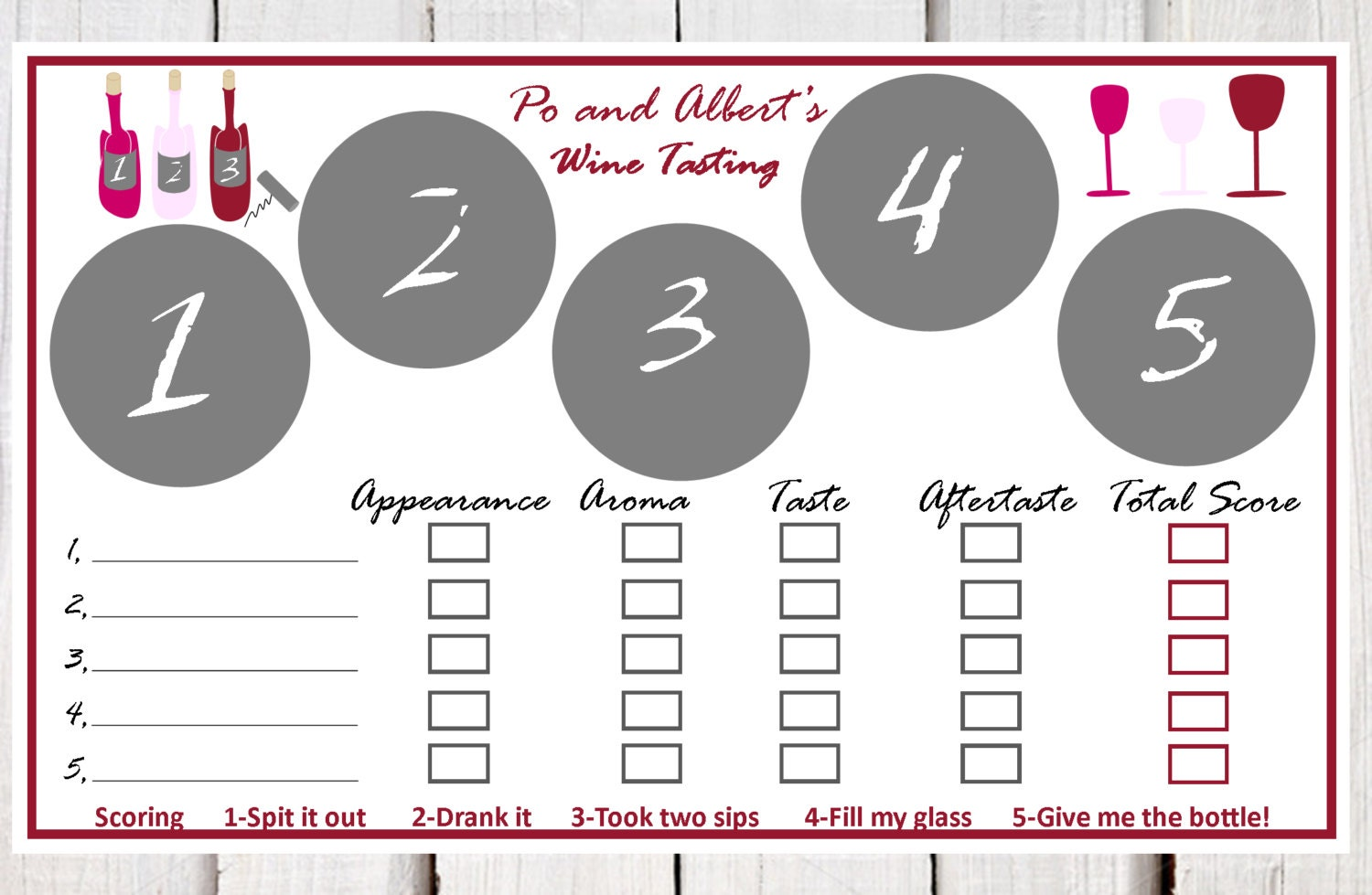Wine Tasting Place Mats Paper Wine Tasting Placemats Wine Etsy