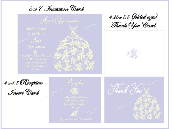 Quinceanera Invitation Set Invitation Reception Card Thank You