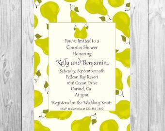 Couples Shower Invitation, Pear invite, Engagement invitation, engagement party Perfect Pair Perfect pear invitation, couples engagement PDF