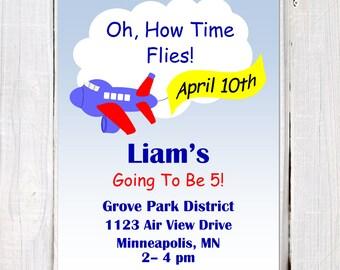 Airplane Invitation, Airplane Birthday Invitation, Time Flies Invitation, Boy Airplane Theme Boy's Airplane Party Invitation, PDF, Printable
