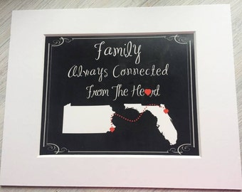 Moving away mother's day gift, states print connected from heart going away, Hostess gift, family apart, Chalkboard look 8x10 on 11x14 mat