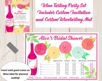 Bridal Shower Wine Tasting invitation and  Placemat, wine tasting party , Bachelorette party, Birthdays wine tasting invitation, Digital PDF