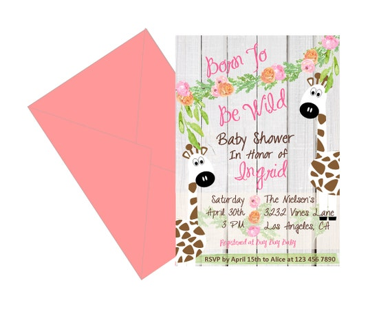 Jungle Baby Shower Invitation Born To Be Wild Invitations Etsy