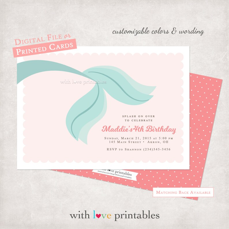 Mermaid Tail Birthday Invitations Baby Shower Little Ariel Summer Swimming Pool