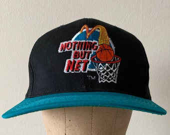 8cf01705b0b4 McDonalds Nothing But Net Larry Bird Michael Jordan Snapback Hat 1993