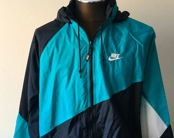 25fda697db9b Nike Windbreaker 90s Size XL Black Emerald Green White