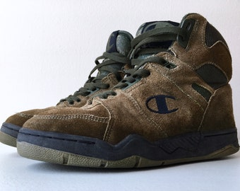72189ea289c Champion Hi Top Basketball Shoes Outdoor 90 s 8.5 Brown Green