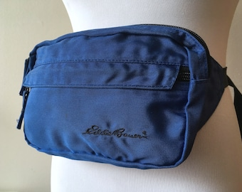 Eddie Bauer Fanny Pack 90 s Blue and Black Outdoors Hiking aa16c84c5444f