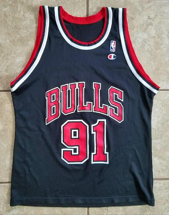 super popular b7486 3d7f1 Champion Dennis Rodman Chicago Bulls Jersey 90's Black Red