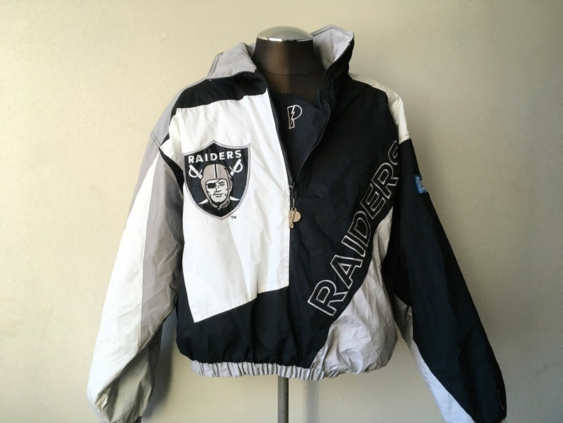 dee2e54ba3d Pro Player Oakland Raiders Jacket Black White Grey NFL XL 90s   Etsy