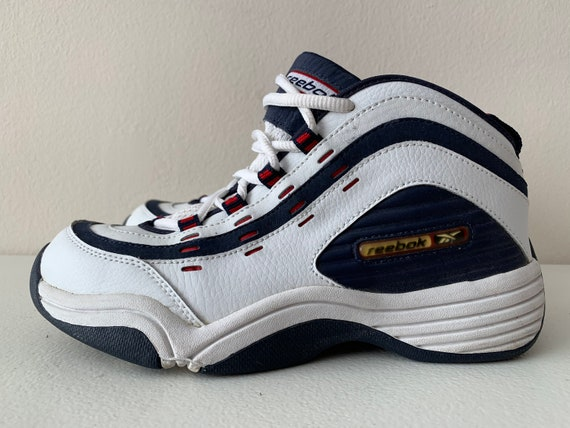 Reebok Basketball Shoes 90's Size 5 White Blue Red
