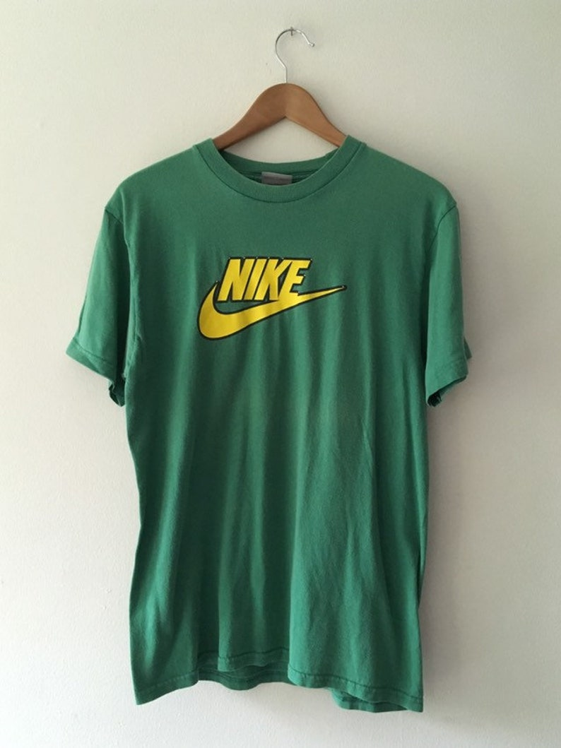 78a64fb8 Nike Swoosh Green and Yellow T Shirt 90's Medium | Etsy