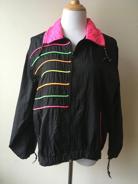 Outerstuff II 2 Vintage Windbreaker Size Medium 90s Black Pink Green Orange Neon