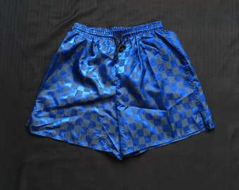 Active Elements Checkered Soccer Shorts Large Made in USA Blue Black