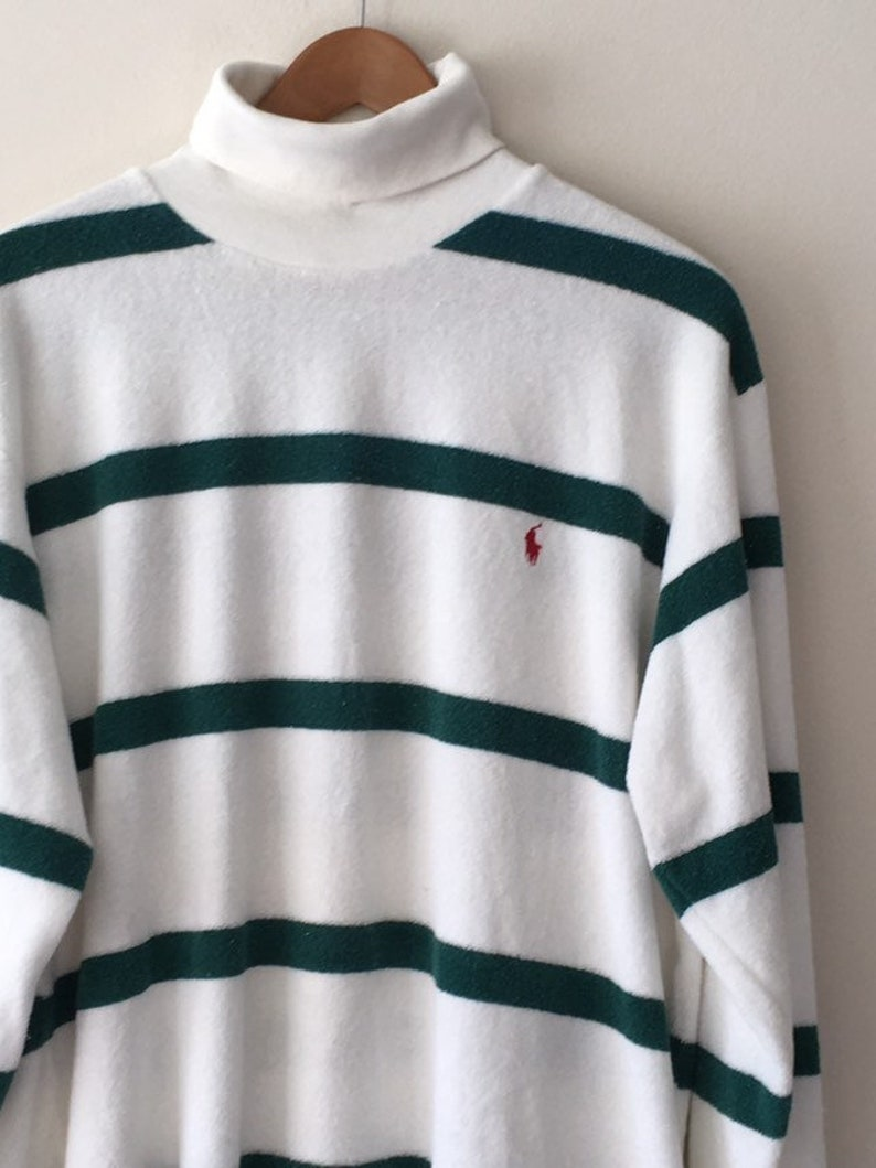 da499aff Ralph Lauren Polo Striped Terry Cloth Turtleneck Sweater White | Etsy