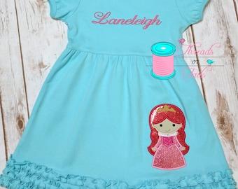 Princess Dress, Princess Applique Dress, Summer Princess Dress, Princess Ruffle Dress