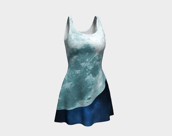 Gorgeous Large Moon on Blue Space Background - Flare Dress
