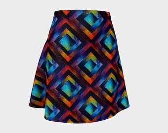 Beautiful Bright Geometric Galaxy Print - Wonderful Space Themed Skater Skirt