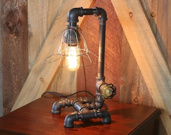 """Petite 1/2"""" Industrial Pipe Desk or Night Stand Lamp"""