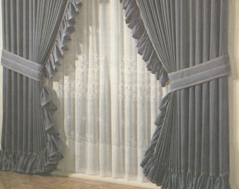 Simplicity Shirred Curtain Roman Shade Criss Cross Cafe Balloon Opera Tab Curtains Instruction Cards