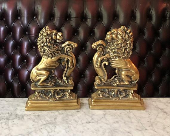 image 0 - Vintage Lion Door Stops Antique Brass Lion Door Stops Etsy