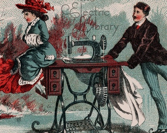 Sewing Machine Waltz Digital Download: A Victorinan Couple Skates with a Sewing Machine
