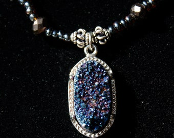 Druzy and Swarovski  Black Crystal Bead Necklace