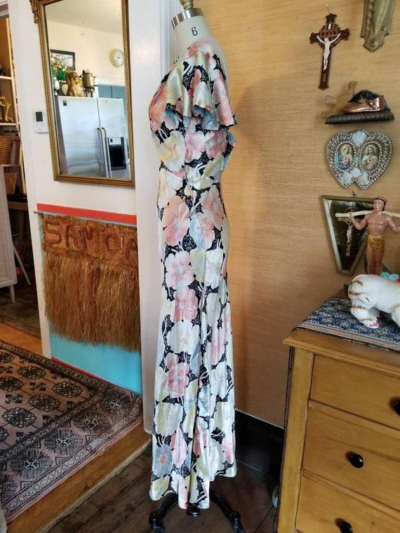 Vintage 30s 40s satin floral gown dress xs - image 7