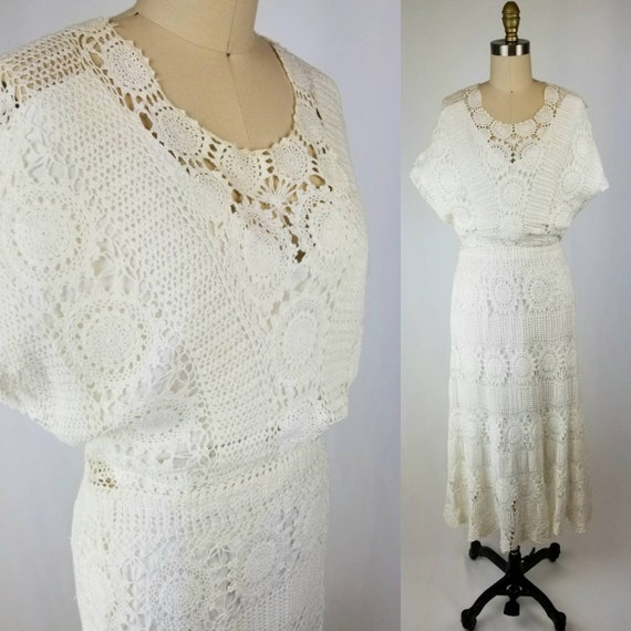 White Crochet 70's Wedding Dress