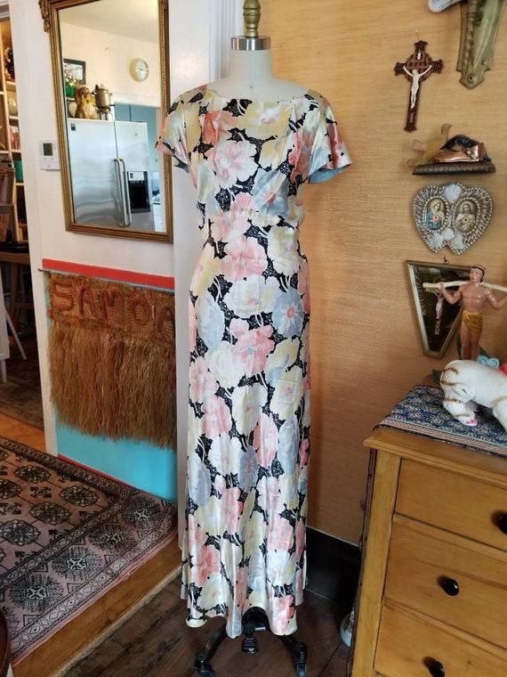 Vintage 30s 40s satin floral gown dress xs - image 5