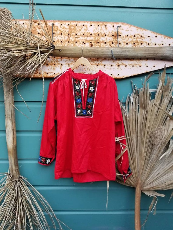Vintage Circa 70s Red Cotton Polish Folk Blouse /