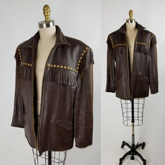 Vintage 40s/50s men's leather fringe jacket