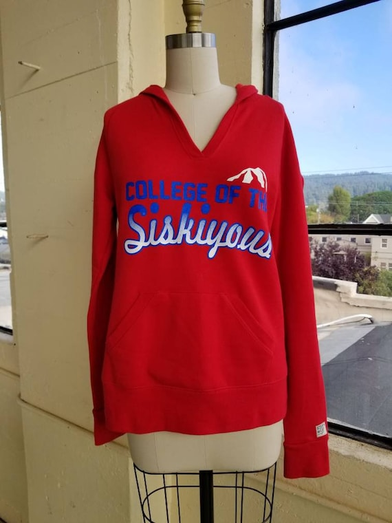 Vintage 60s College of the Siskiyous Red Hoodie Sw