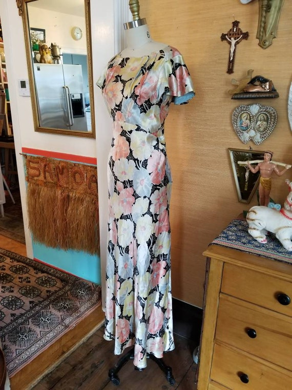 Vintage 30s 40s satin floral gown dress xs - image 6