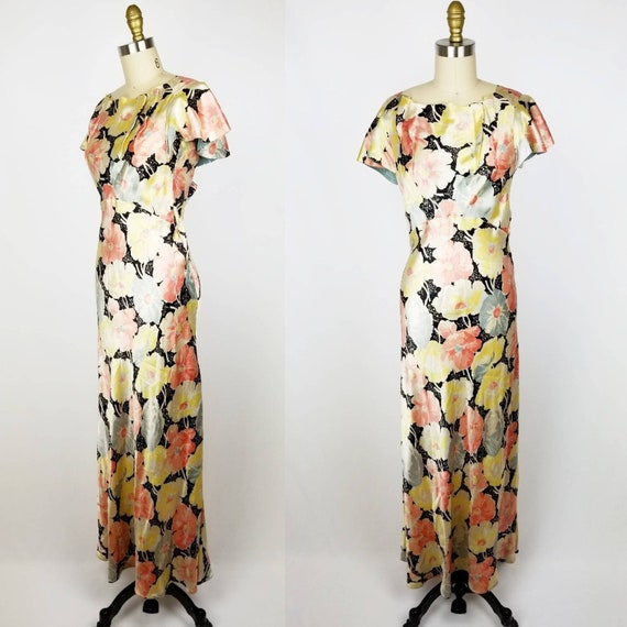 Vintage 30s 40s satin floral gown dress xs