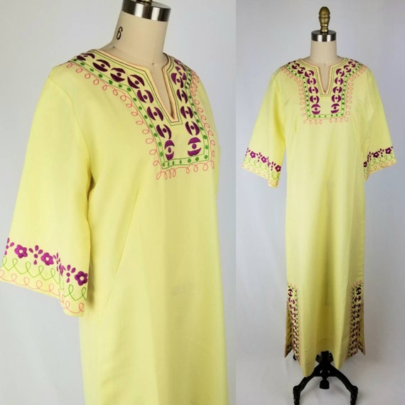 Vintage 70's Josefa Hand Embroidered Yellow Mexica