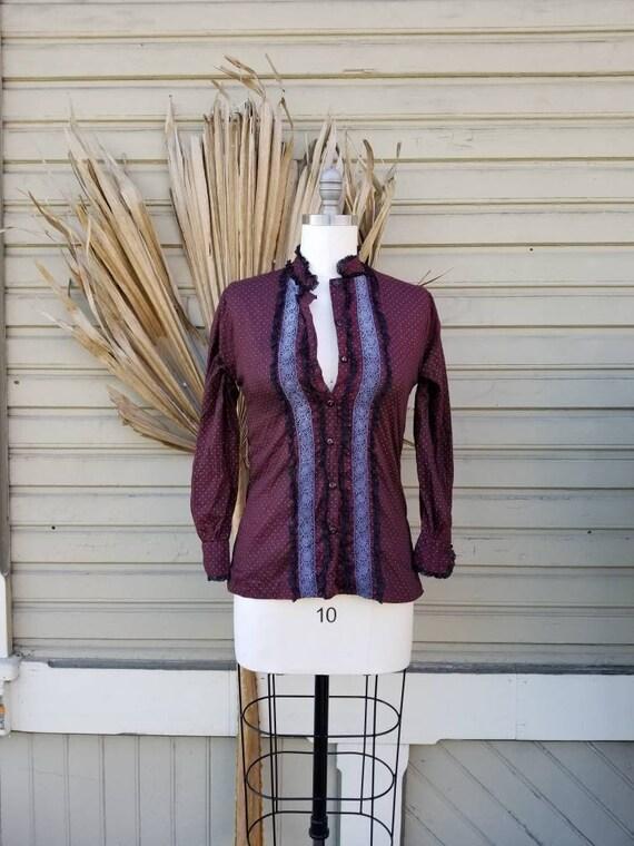 Vintage 70s wine prairie blouse - as is - image 2