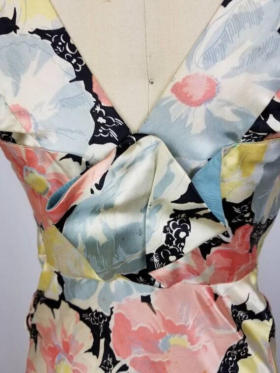 Vintage 30s 40s satin floral gown dress xs - image 4