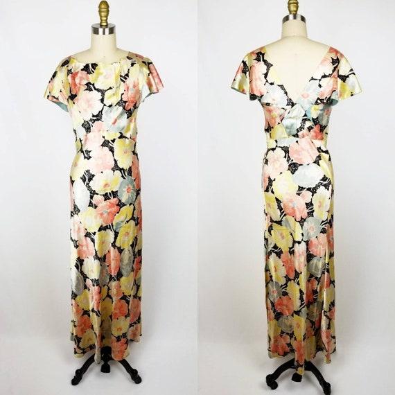 Vintage 30s 40s satin floral gown dress xs - image 2