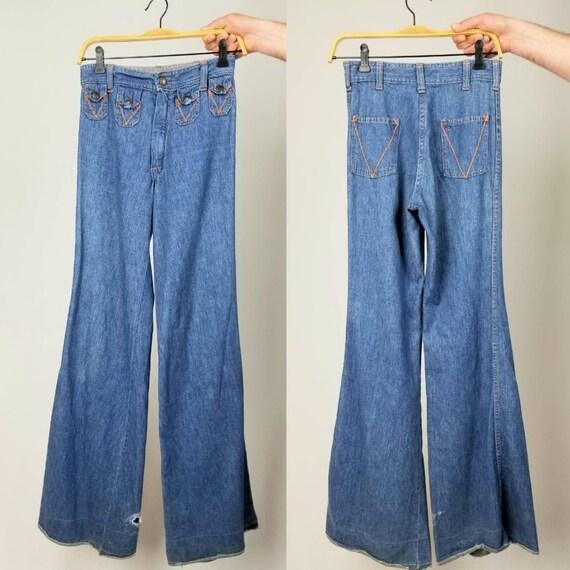 Vintage 70s high waist wide leg bell bottom jeans
