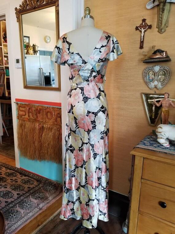 Vintage 30s 40s satin floral gown dress xs - image 8